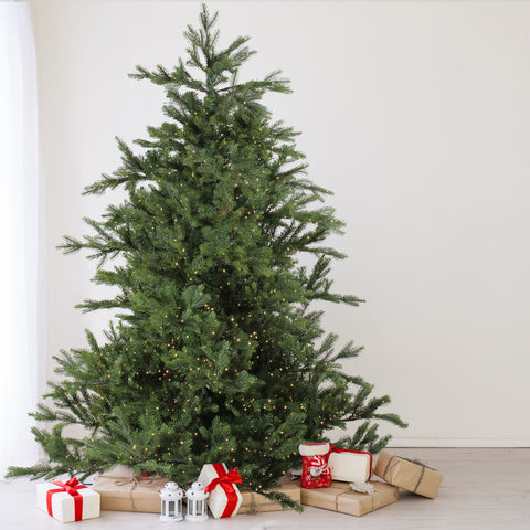 7.5' Pre-Lit Full Oregon Noble Fir Artificial Christmas Tree - Warm White LED Lights
