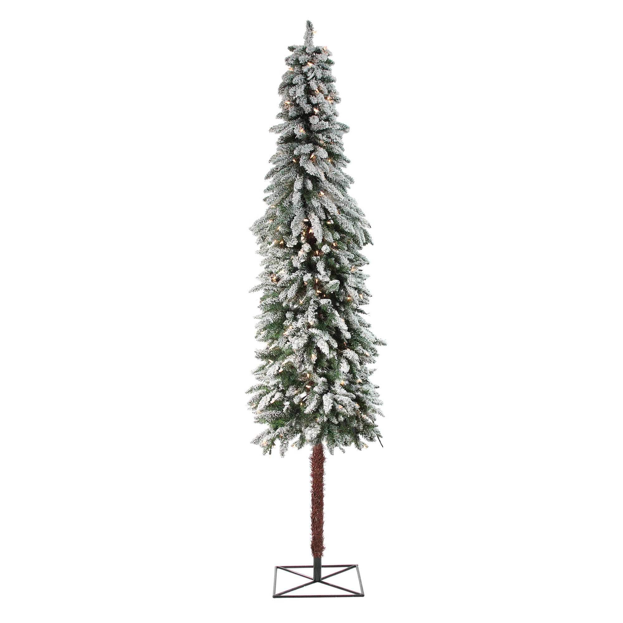 7\' Pre-Lit Flocked Alpine Artificial Christmas Tree - Clear Lights ...