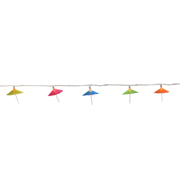10-Count Vibrantly Colored Sun Umbrella Christmas Light, 6ft White Wire