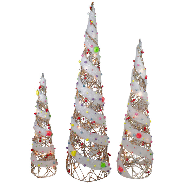 Set of 3 Champagne Gold Lighted Rattan Candy Covered Cone Tree Outdoor Christmas Decorations 39.25""