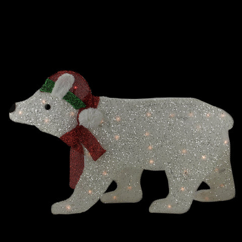 "19"" Lighted White 2-D Glittered Polar Bear Christmas Outdoor Decoration"
