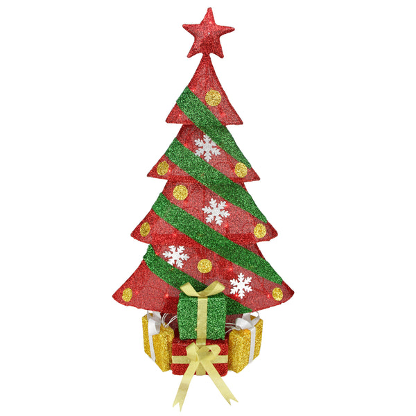 "39"" Lighted Red and Green Tinsel Christmas Tree with Gifts Outdoor Decoration"
