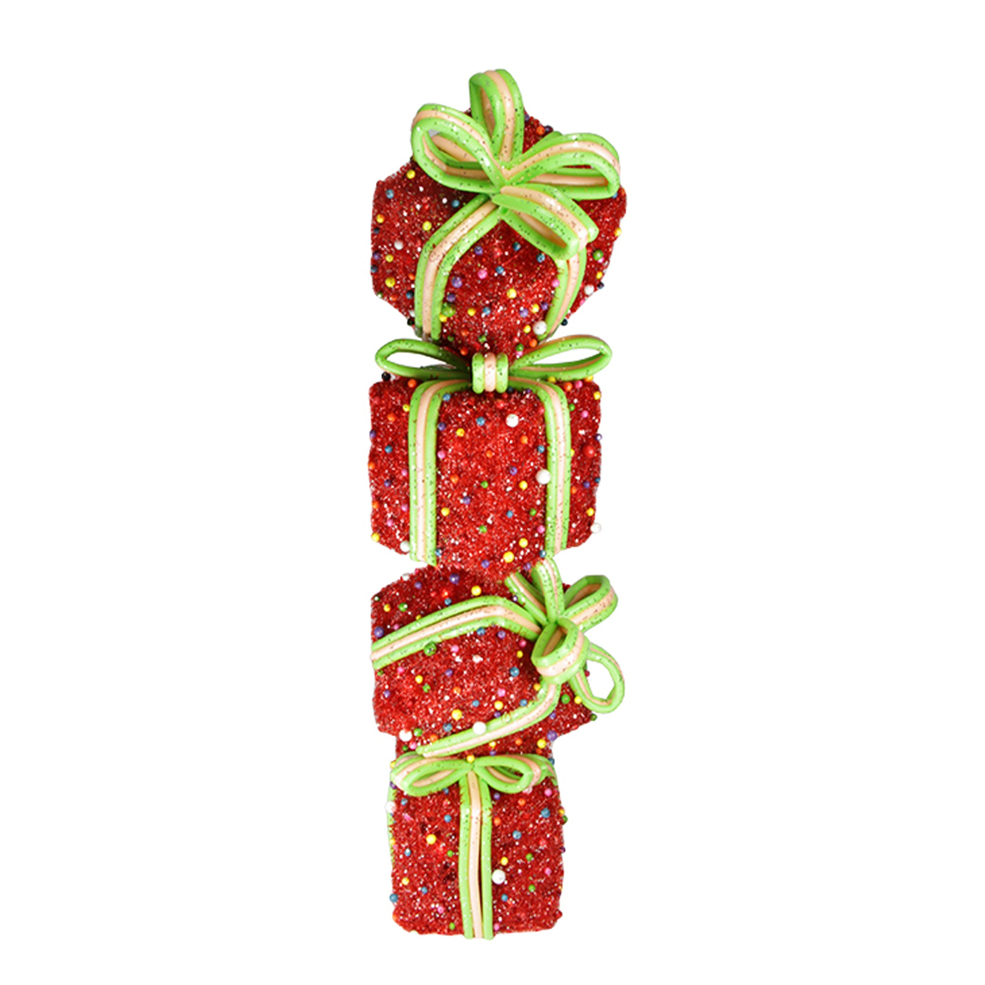 34 lighted red tinsel and candy stacked gift boxes christmas outdoor decoration - Outdoor Tinsel Christmas Decorations