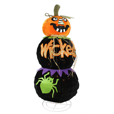 "38"" Lighted Standing Spooky ""WICKED"" Black Jack-o-Lantern Pumpkin Halloween Decoration"