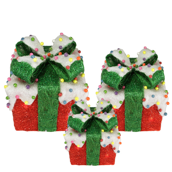 Set of 3 Red Lighted Snow and Candy Covered Sisal Gift Boxes Christmas Outdoor Decorations