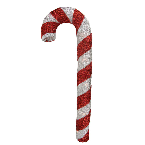 "31"" Lighted Red and Silver Striped Candy Cane Tinsel Christmas Outdoor Decoration"
