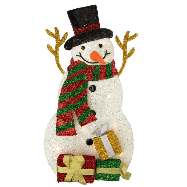 "31"" Pre-Lit White and Black Snowman with Gifts Outdoor Christmas Decor"