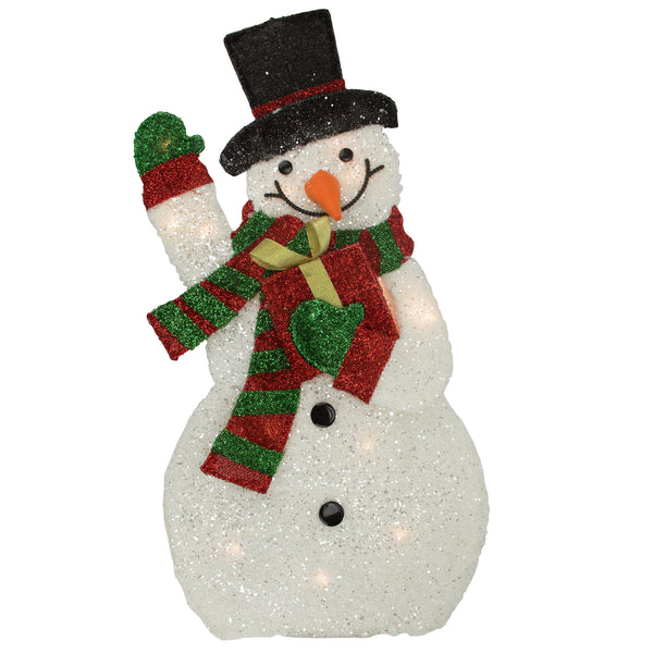 "32"" White and Red Waving Snowman Outdoor Christmas Yard Decor"