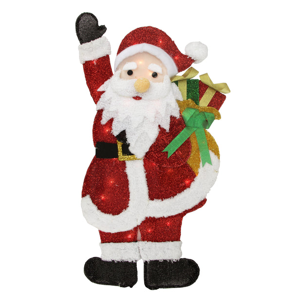 "32"" Red and White Lighted Waving Santa with Gifts Christmas Outdoor Decoration"