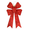 "24"" Lighted Sparkling Red Sisal Bow Christmas Outdoor Decoration"