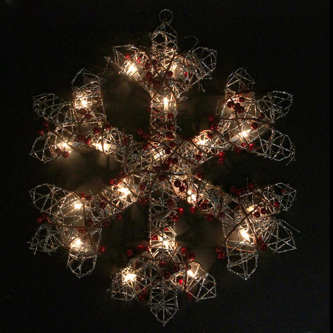 "19"" Lighted Champagne Gold Glittered Berry Snowflake Christmas Window Decoration"