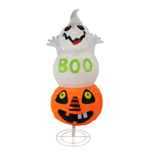 "37"" White and Orange Lighted Boo Ghost Jack-O-Lantern Pumpkin Halloween Tabletop Decor"