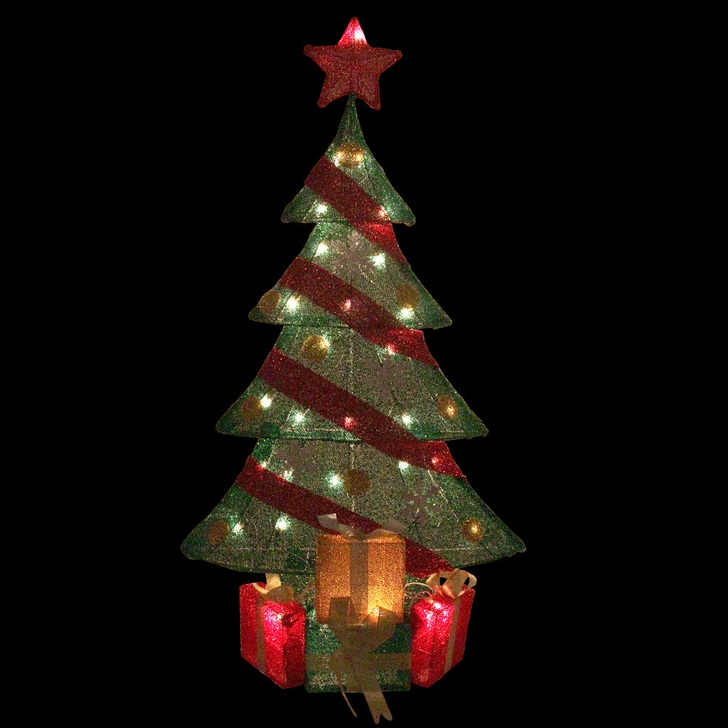 39 lighted green and red tinsel christmas tree with gifts outdoor decoration