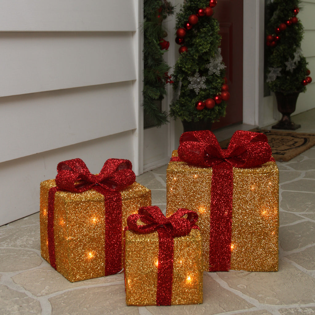 set of 3 gold tinsel gift boxes with red bows lighted christmas outdoor decorations - Decorative Christmas Boxes With Lights