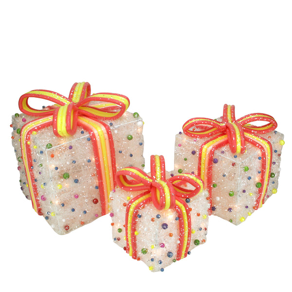 Set of 3 White Lighted Tinsel Gift Boxes with Bows and Candy Christmas Outdoor Decorations