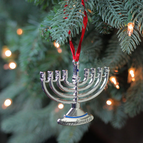 "3.25"" Regal Shiny Silver-Plated Hanukkah Menora Holiday Ornament with European Crystal"