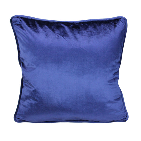 17 Navy Blue Velvet Plush Velvet Solid Square Throw Pillow with Piped Edging