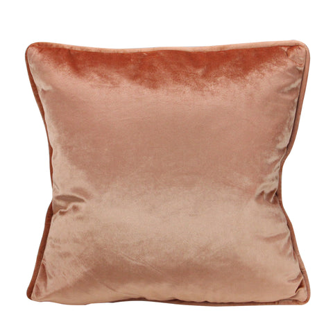 "17"" Peach Plush Velvet Square Throw Pillow With Piped Edging"