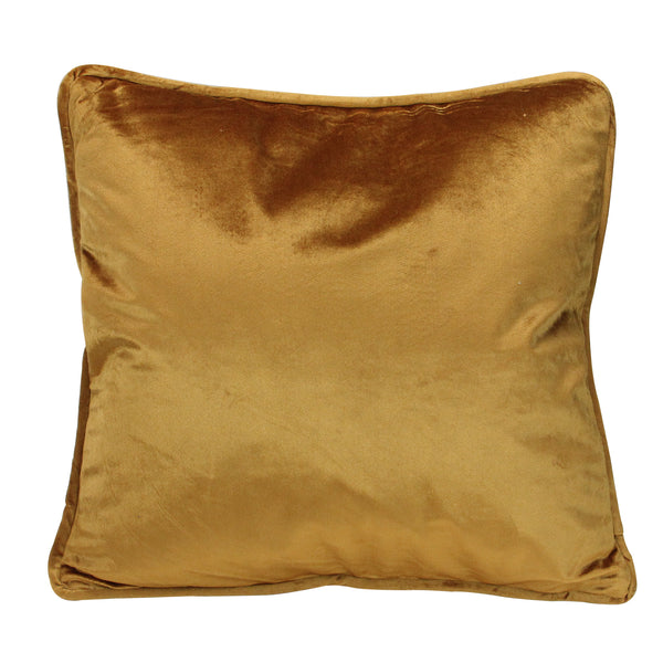 "17"" Golden Mustard Plush Velvet Square Throw Pillow"