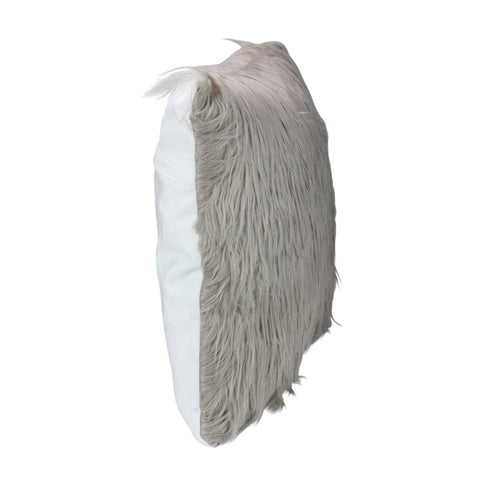 "17"" Beige Taupe Faux Fur Throw Pillow with Suede Backing"