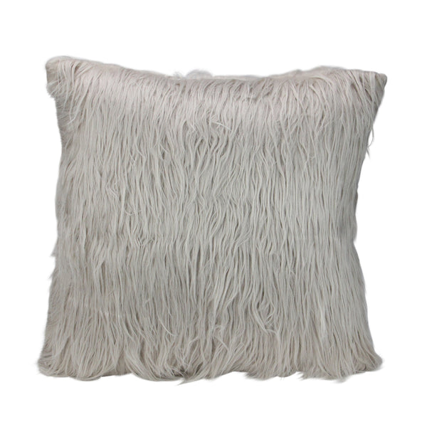 "17"" Beige and Taupe Faux Fur Square Throw Pillow with Suede Backing"