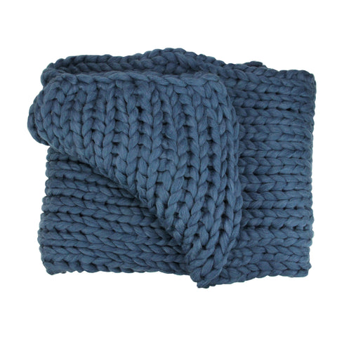 "Navy Blue Cable Knit Plush Throw Blanket 50"" x 60"""