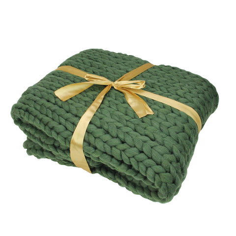 "Hunter Green Cable Knit Plush Throw Blanket 50"" x 60"""