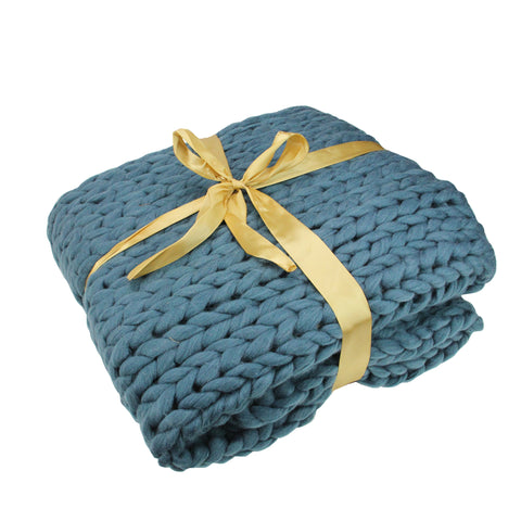 "Teal Blue Cable Knit Plush Throw Blanket 50"" x 60"""