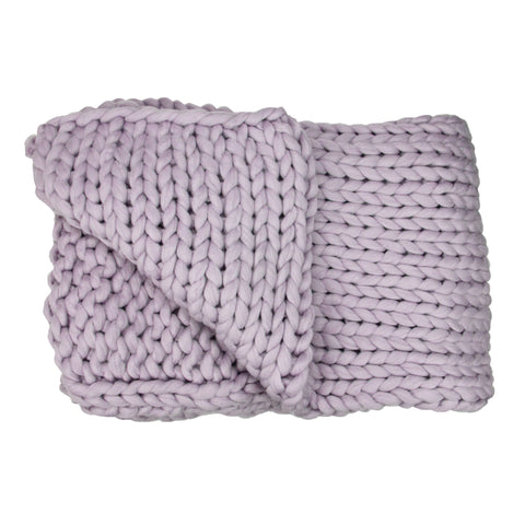 "Light Purple Cable Knit Plush Throw Blanket 50"" x 60"""