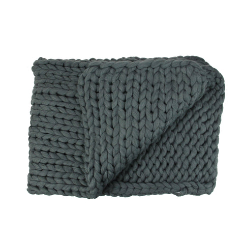 "Smokey Gray Cable Knit Plush Throw Blanket 50"" x 60"""