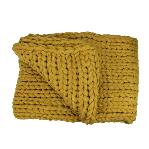 "Golden Mustard Cable Knit Plush Throw Blanket 50"" x 60"""