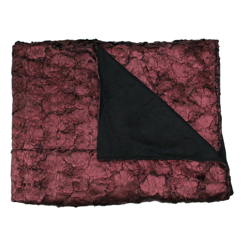 "Burgundy and Black Plush and Velvety Faux Fur Throw Blanket 50"" x 60"""