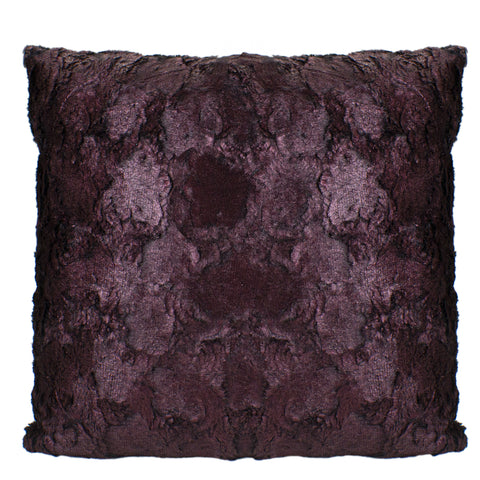 "17"" Burgundy Plush and Velvety Faux Fur Square Throw Pillow with Suede Backing"