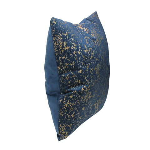 "17"" Navy Blue with Gold Foil Crackle Designed Square Velvet Throw Pillow - Polyester"