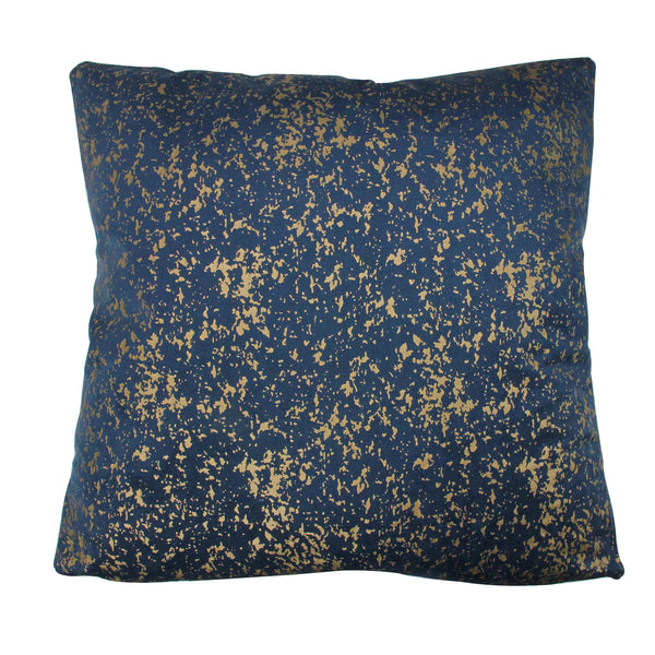"17"" Navy Blue with Gold Foil Crackle Square Velvet Throw Pillow"