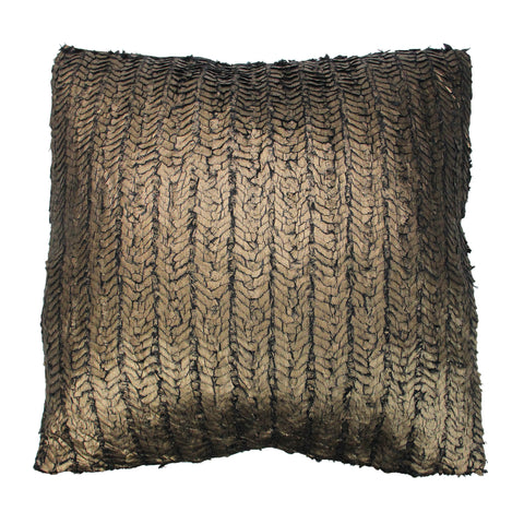 "17"" Brown Velvet Square Throw Pillow with Gold Foil Design"