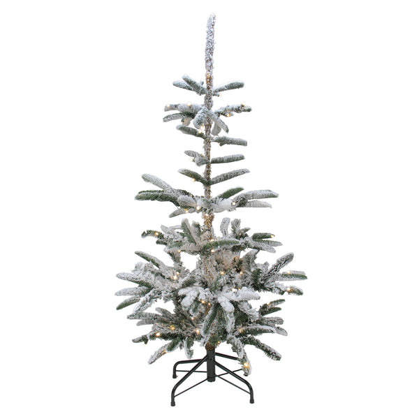 4.5' Pre-Lit Noble Fir Artificial Flocked Christmas Tree - Warm Clear LED Lights
