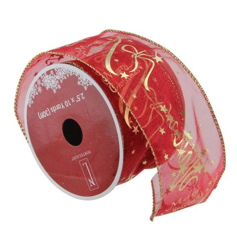 "Cranberry Red and Gold ""Merry Christmas"" Wired Christmas Craft Ribbon 2.5"" x 10 Yards"