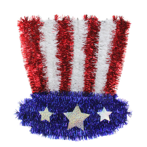 "13"" Red and Blue Patriotic Uncle Sam Hat Window Decor"