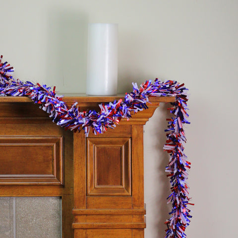 25' Red and Purple Wide Cut Garland - Unlit