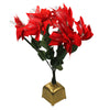 "20"" Red and Green Pre-Lit Fiber Optic Poinsettia Artificial Christmas Plant"