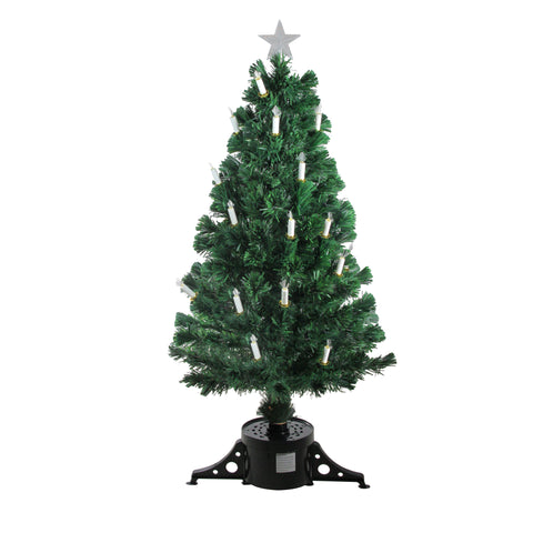 4' Pre-Lit Fiber Optic Artificial Christmas Tree with Candles - Multi Lights