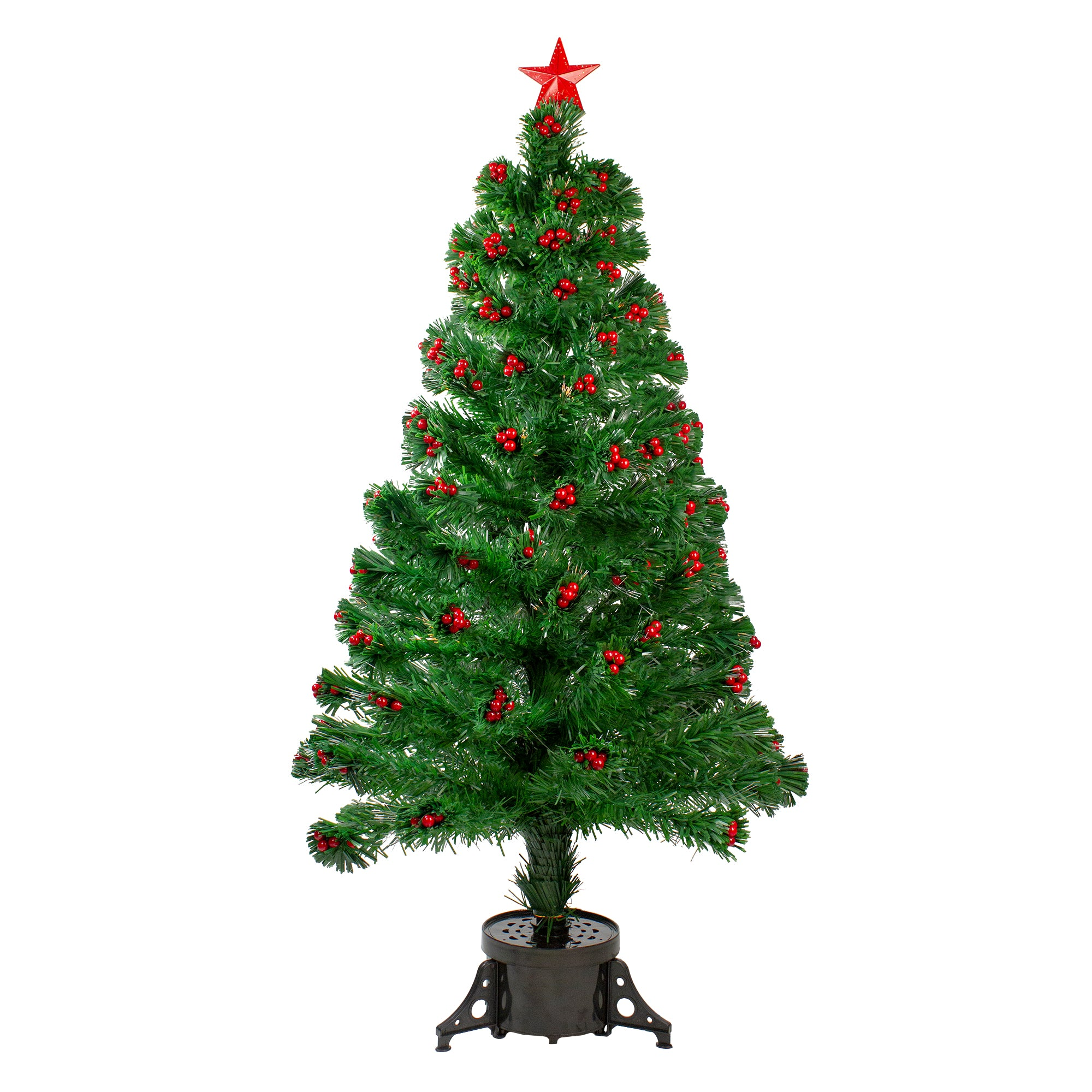4' Pre-Lit Color Changing Artificial Christmas Tree with Red Berries