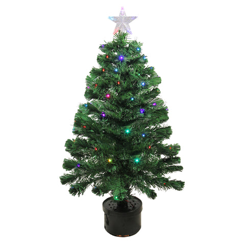 3' Pre-Lit LED Color Changing Fiber Optic Christmas Tree with Star Tree Topper