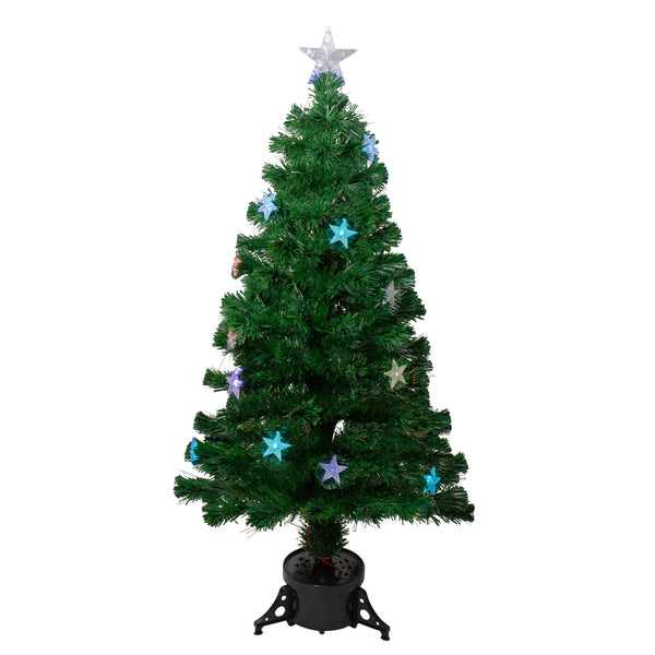 4' Pre-lit Potted Medium Pine Color Changing Star Artificial Christmas Tree - Multi-Color Fiber Optic LED Lights