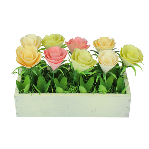 "9.5"" Yellow and White Potted Springtime Artificial Flowers"