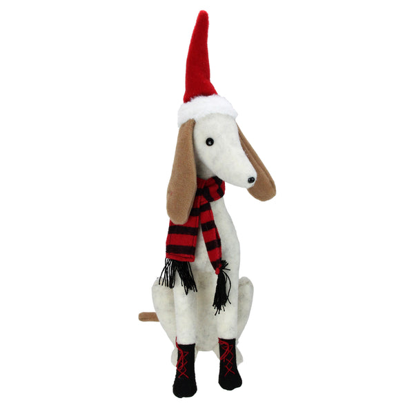 "21.5"" White and Gray Sitting Greyhound Dog in Santa Hat Christmas Decoration"