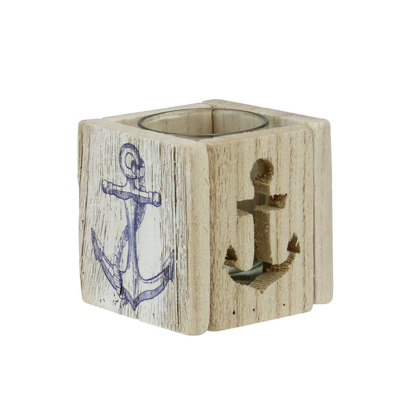 "2.75"" Wooden Anchor Print and Cutout Tealight Candle Holder"