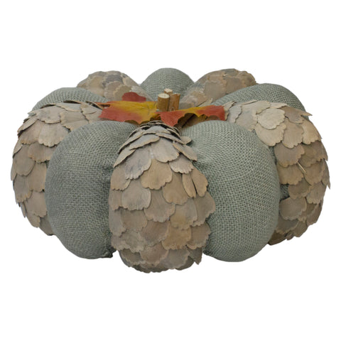 "10"" Green and Brown Autumn Harvest Tabletop Pumpkin"
