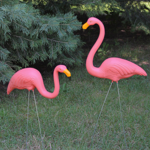 Set of 2 Pink Tropical Flamingo Outdoor Lawn Stakes 30""